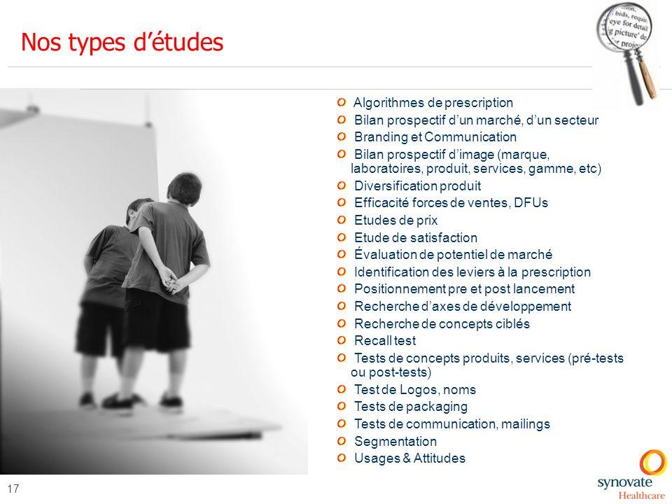 Nos types d'études Algorithmes de prescription
