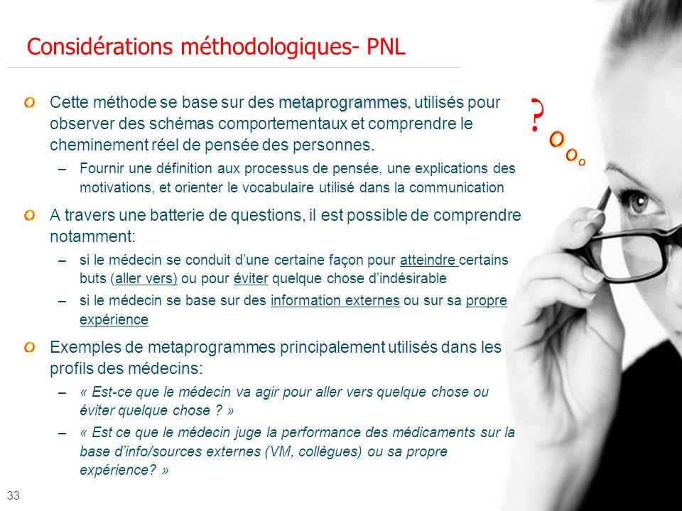 Considérations méthodologiques- PNL
