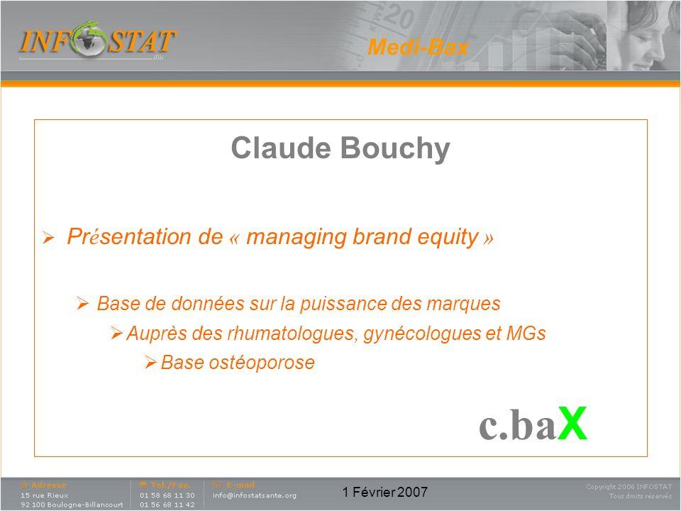 c.baX Claude Bouchy Medi-Bax Présentation de « managing brand equity »