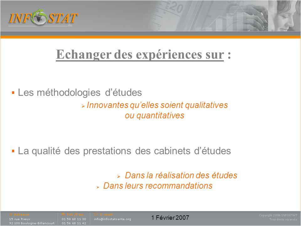 Echanger des expériences sur :