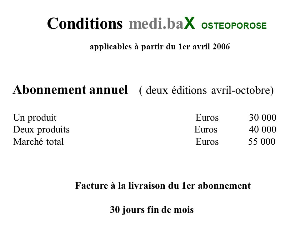 Conditions medi.baX OSTEOPOROSE
