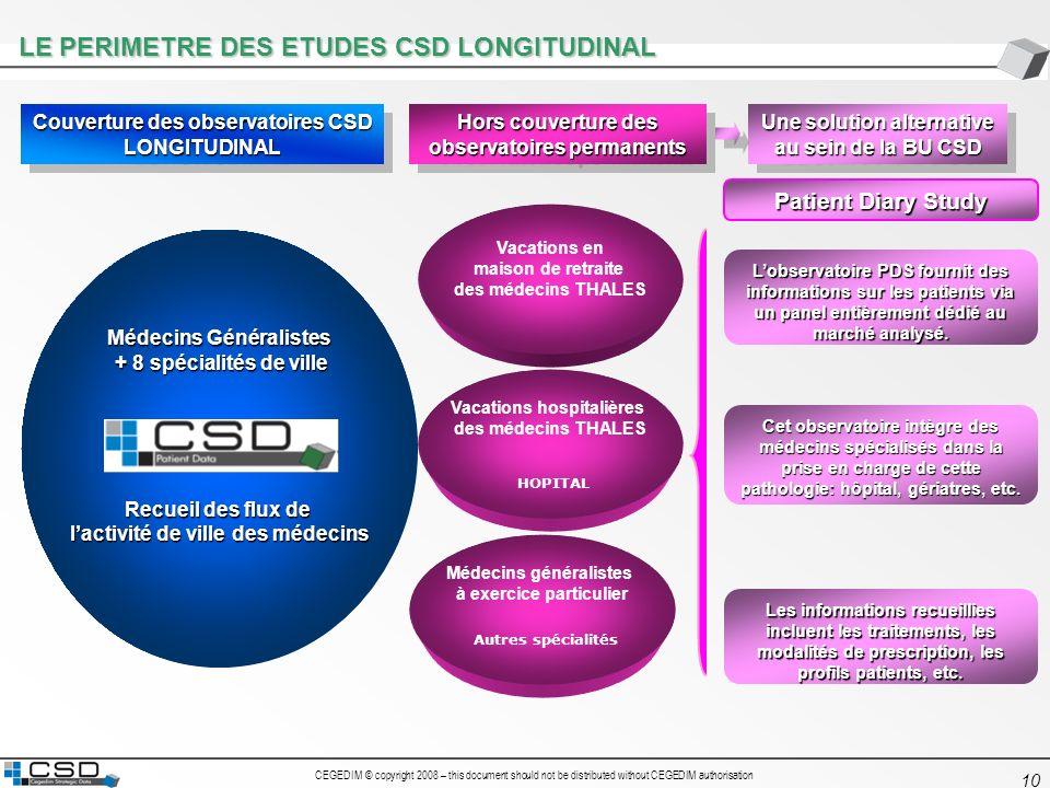 LE PERIMETRE DES ETUDES CSD LONGITUDINAL