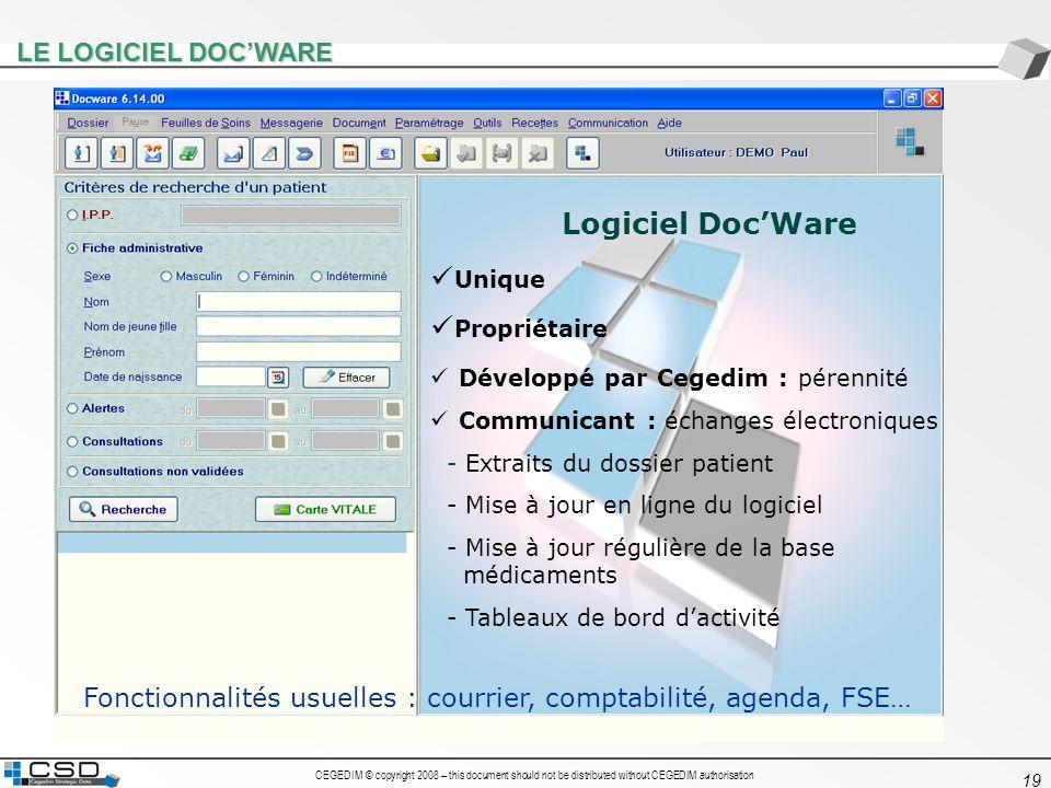 Logiciel Doc'Ware Unique Propriétaire LE LOGICIEL DOC'WARE