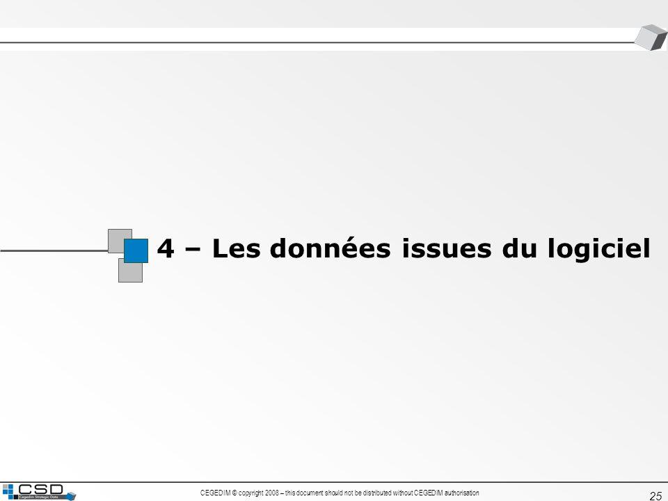 4 – Les données issues du logiciel