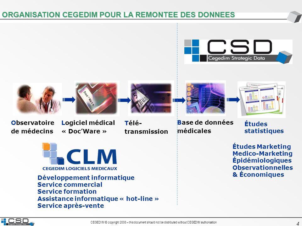 ORGANISATION CEGEDIM POUR LA REMONTEE DES DONNEES