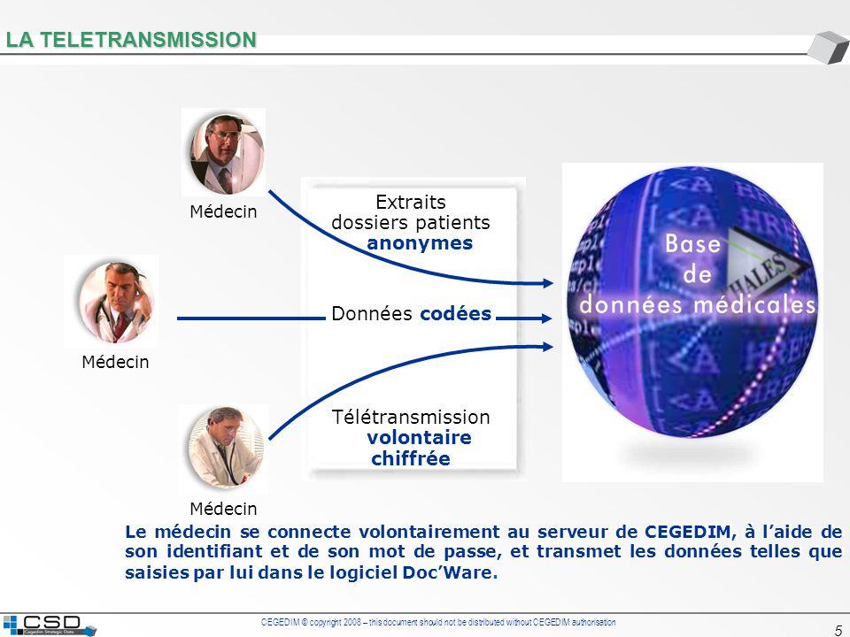 LA TELETRANSMISSION Extraits dossiers patients anonymes Données codées
