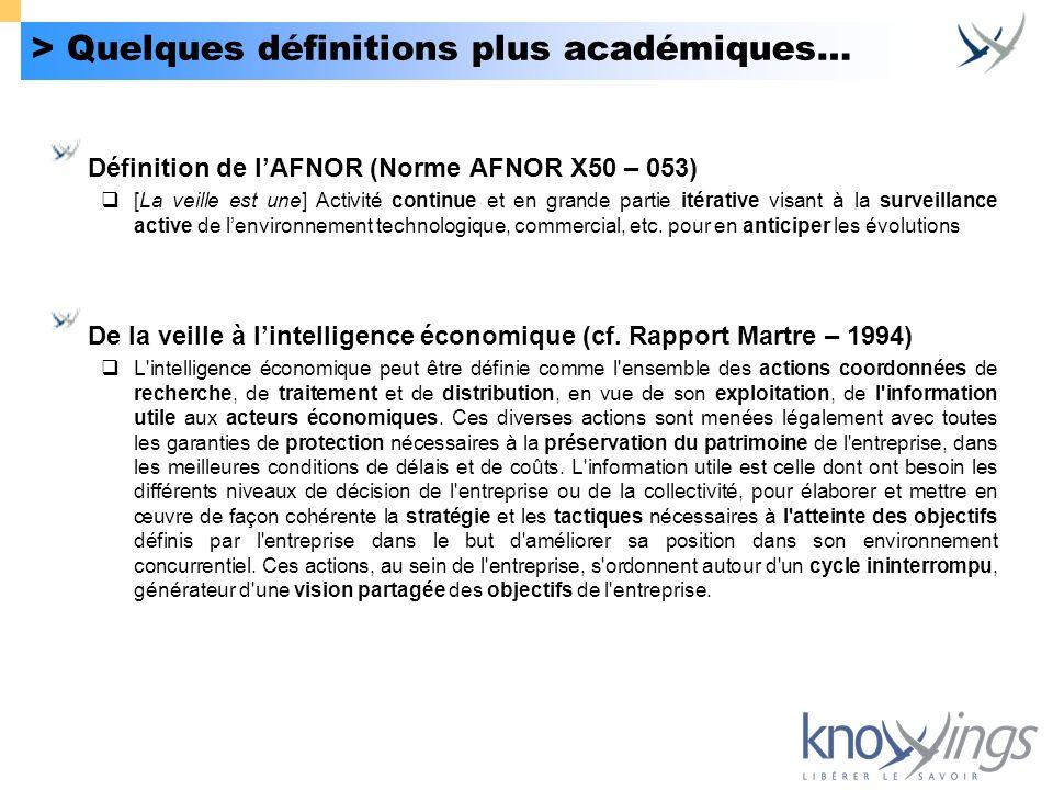 > Quelques définitions plus académiques…