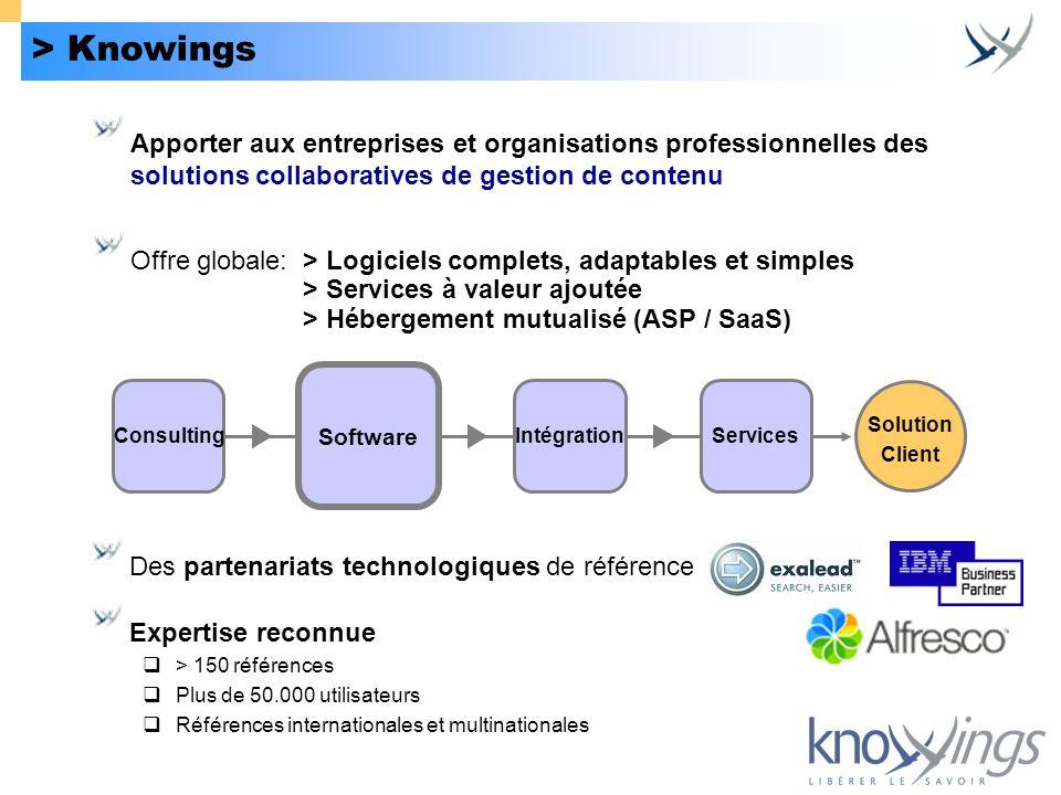 > KnowingsApporter aux entreprises et organisations professionnelles des solutions collaboratives de gestion de contenu.
