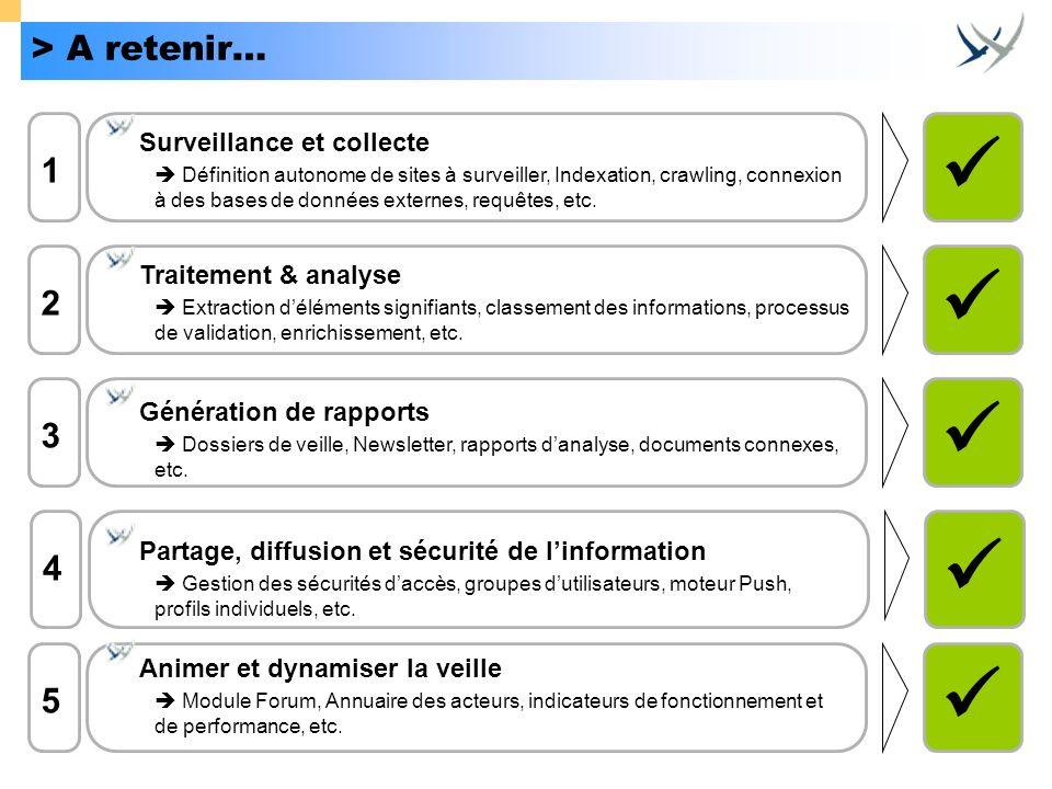      > A retenir… 1 2 3 4 5 Surveillance et collecte