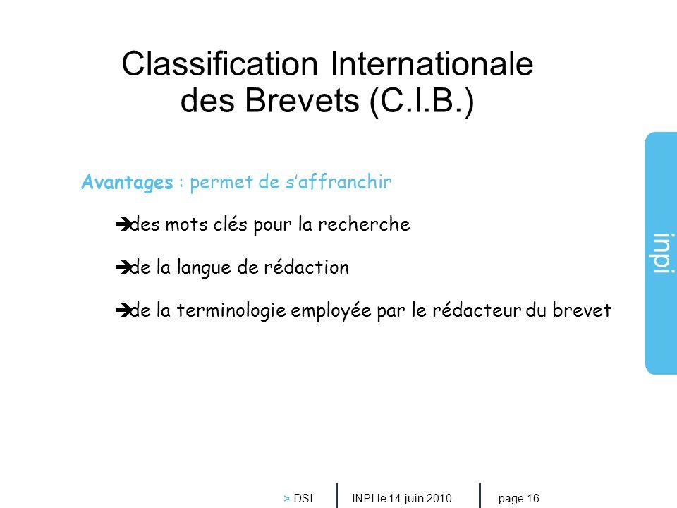 Classification Internationale des Brevets (C.I.B.)