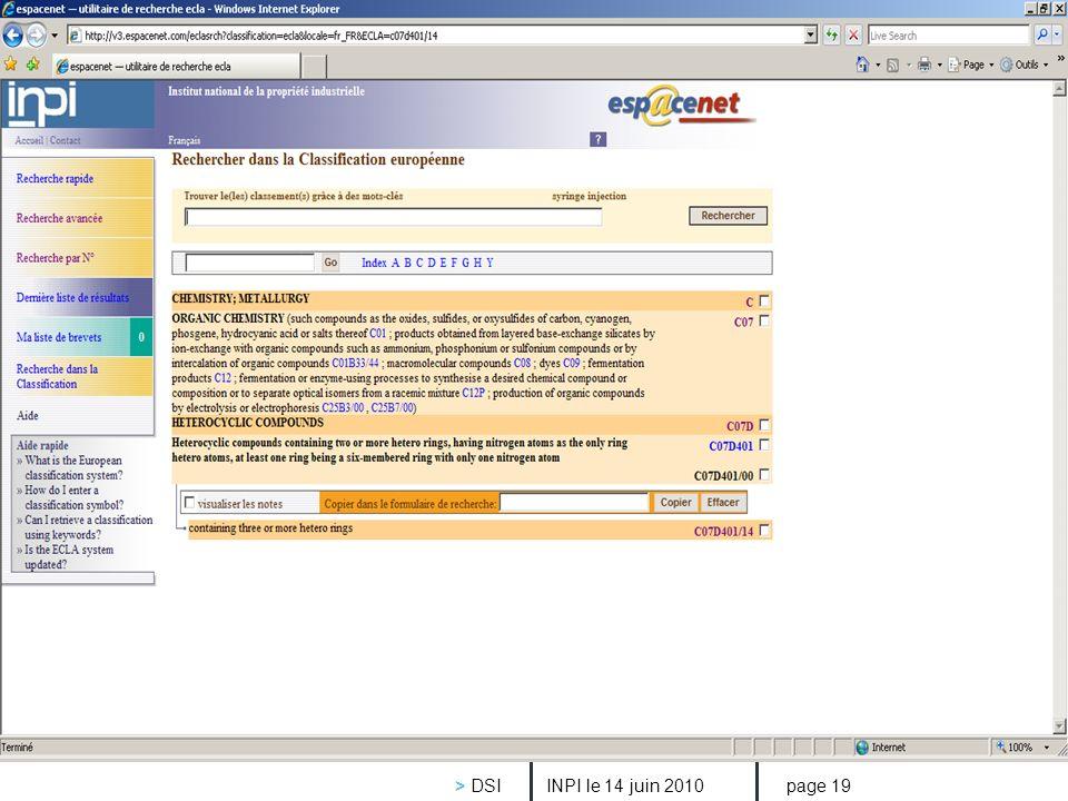 > DSI INPI le 14 juin 2010 page 19