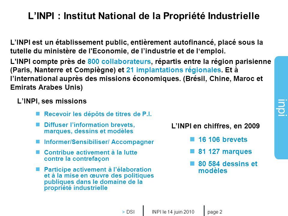 L'INPI : Institut National de la Propriété Industrielle