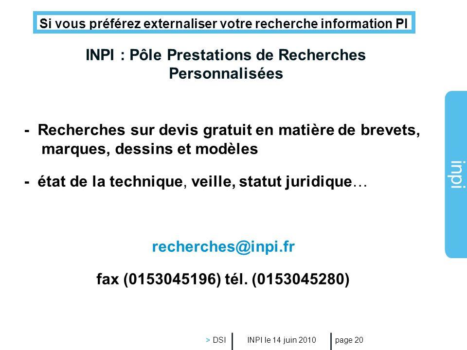 INPI : Pôle Prestations de Recherches Personnalisées