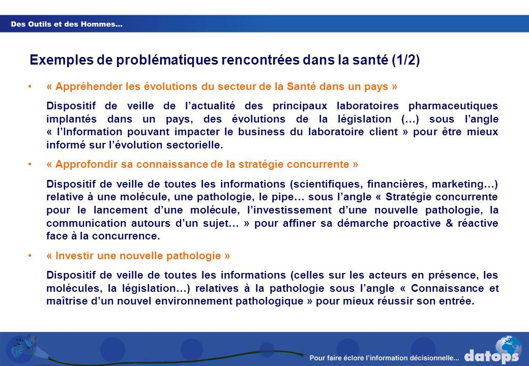 Exemples de problématiques rencontrées dans la santé (1/2)