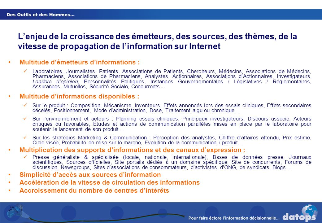 L'enjeu de la croissance des émetteurs, des sources, des thèmes, de la vitesse de propagation de l'information sur Internet