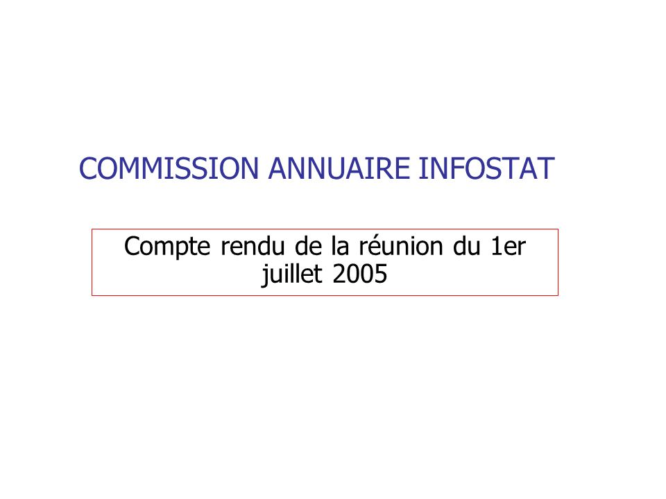 COMMISSION ANNUAIRE INFOSTAT