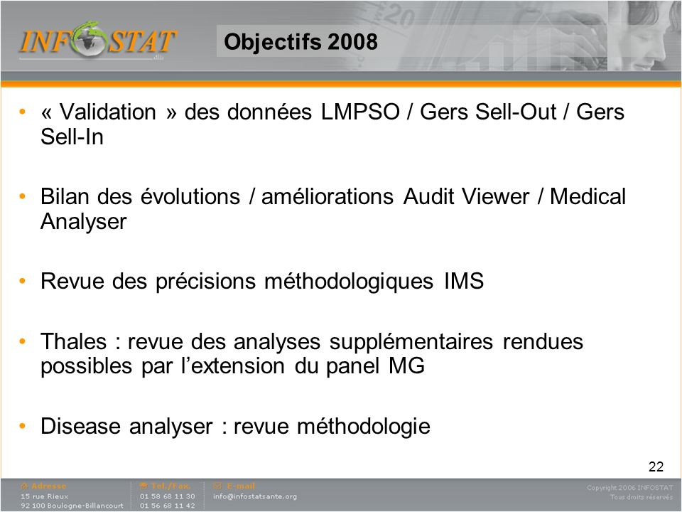 Objectifs 2008« Validation » des données LMPSO / Gers Sell-Out / Gers Sell-In. Bilan des évolutions / améliorations Audit Viewer / Medical Analyser.