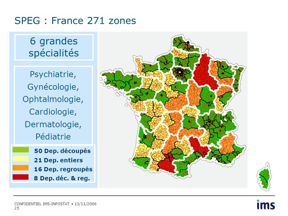 SPEG : France 271 zones 6 grandes spécialités