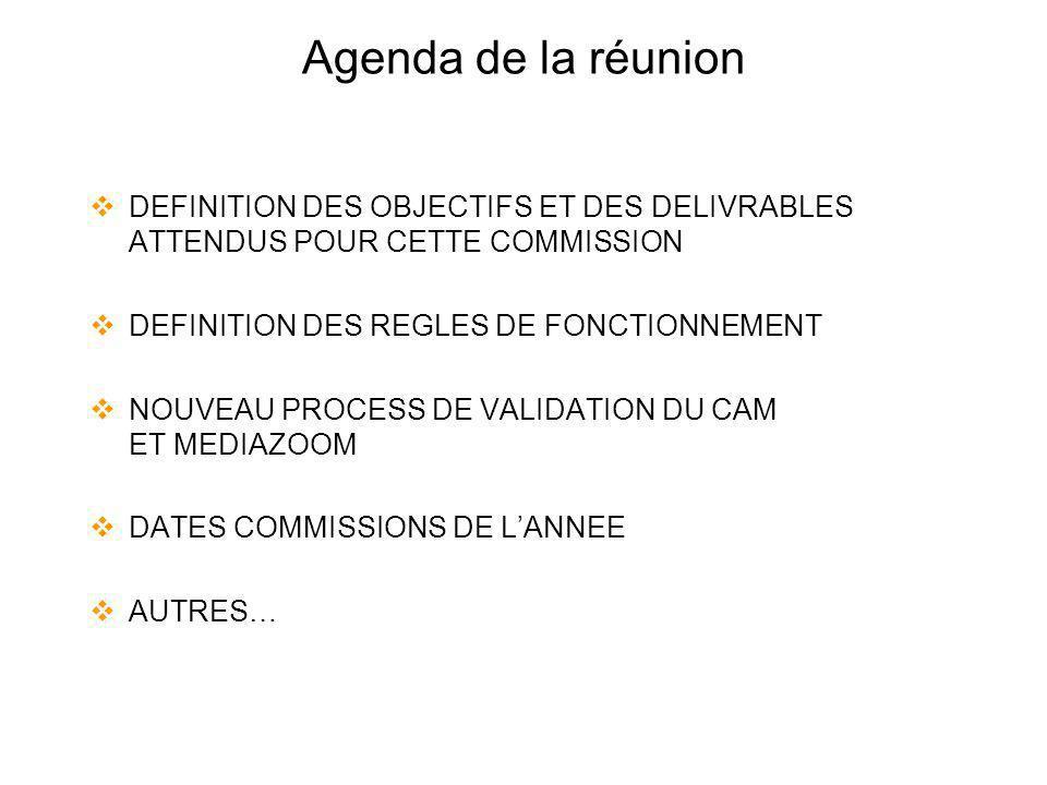 Agenda de la réunion DEFINITION DES OBJECTIFS ET DES DELIVRABLES ATTENDUS POUR CETTE COMMISSION. DEFINITION DES REGLES DE FONCTIONNEMENT.