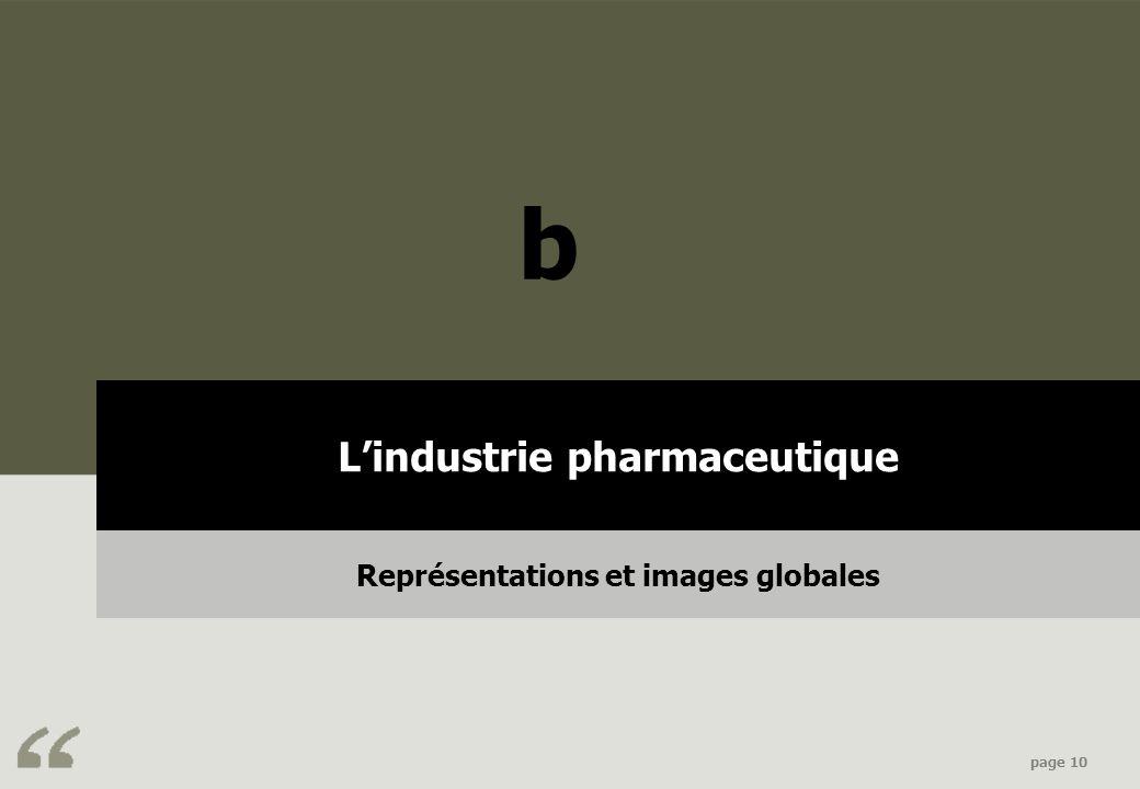 L'industrie pharmaceutique Représentations et images globales