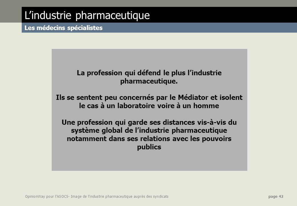 La profession qui défend le plus l'industrie pharmaceutique.