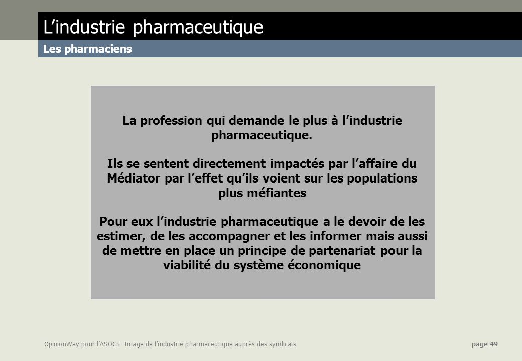 La profession qui demande le plus à l'industrie pharmaceutique.