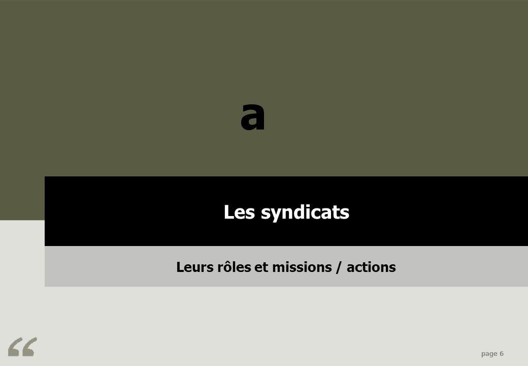 Leurs rôles et missions / actions