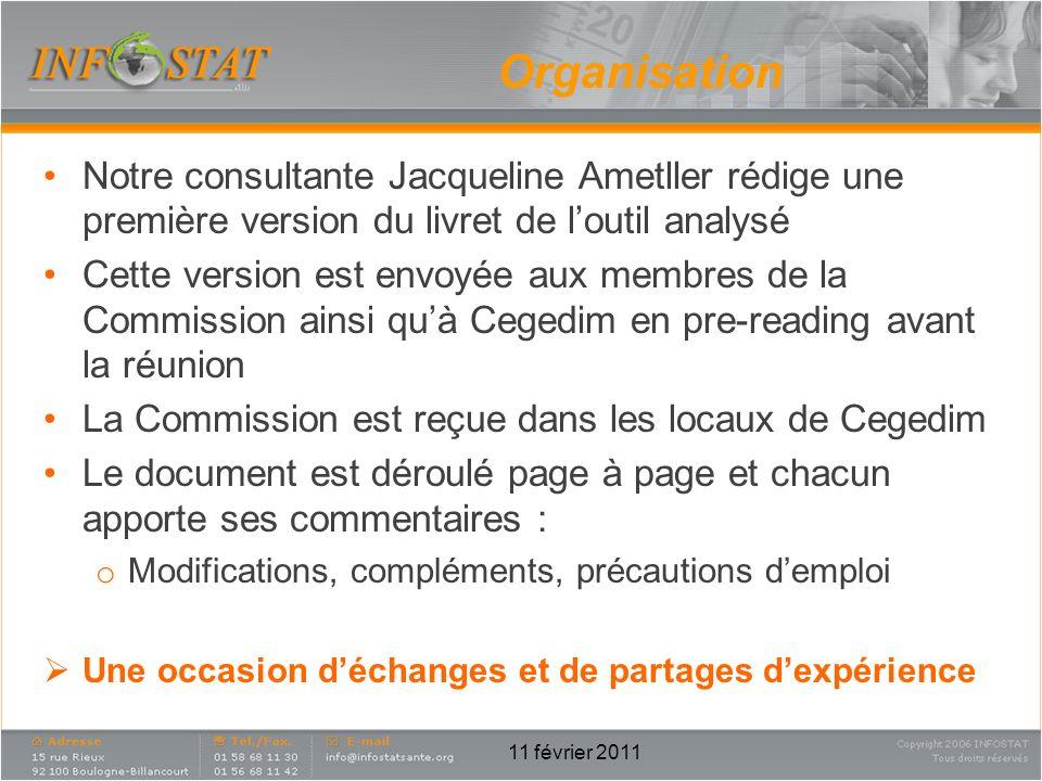 Organisation Notre consultante Jacqueline Ametller rédige une première version du livret de l'outil analysé.
