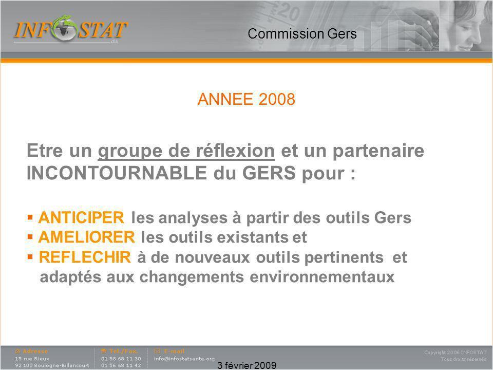 Commission Gers Etre un groupe de réflexion et un partenaire INCONTOURNABLE du GERS pour : ANTICIPER les analyses à partir des outils Gers.