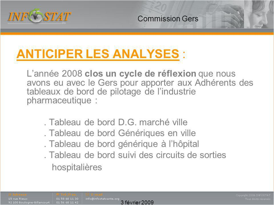 ANTICIPER LES ANALYSES :