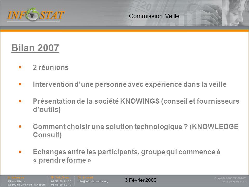 Commission Veille Bilan 2007. 2 réunions. Intervention d'une personne avec expérience dans la veille.