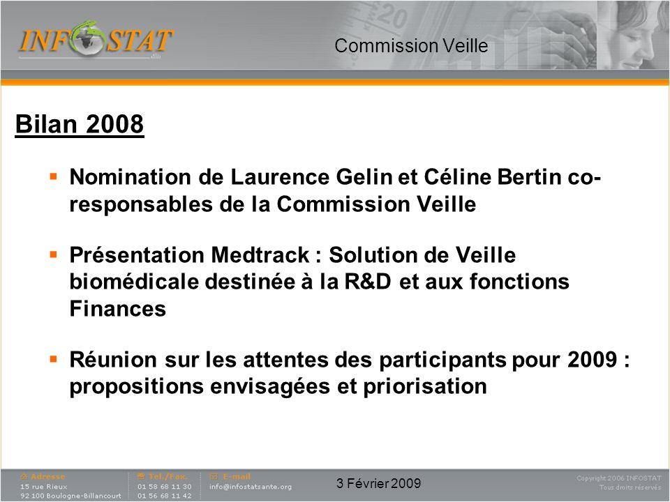 Commission Veille Bilan 2008. Nomination de Laurence Gelin et Céline Bertin co-responsables de la Commission Veille.