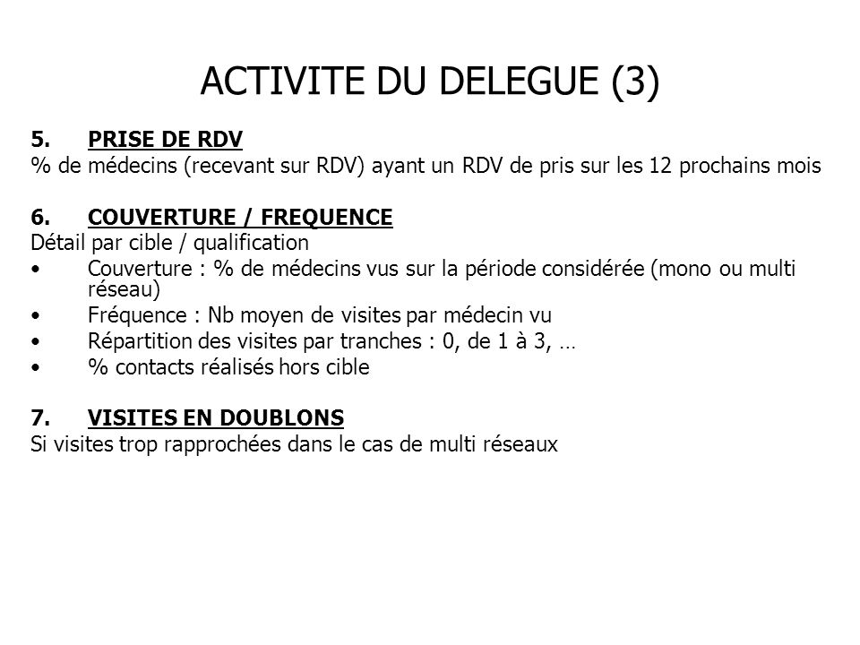 ACTIVITE DU DELEGUE (3) PRISE DE RDV