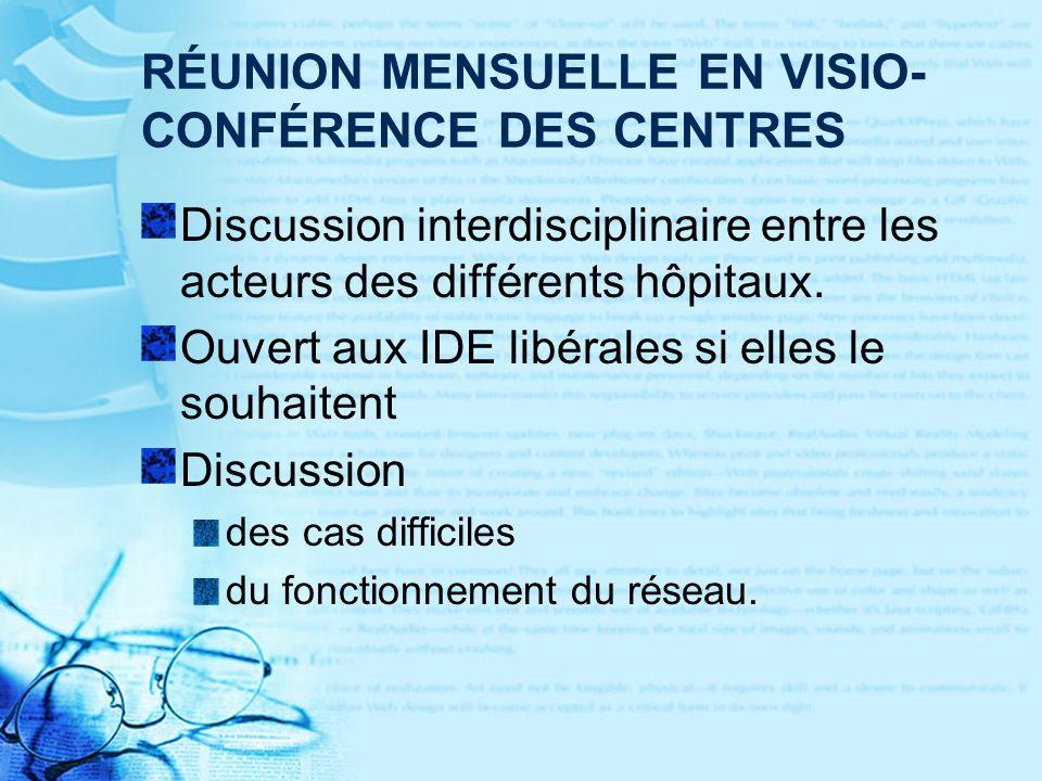 RÉUNION MENSUELLE EN VISIO-CONFÉRENCE DES CENTRES