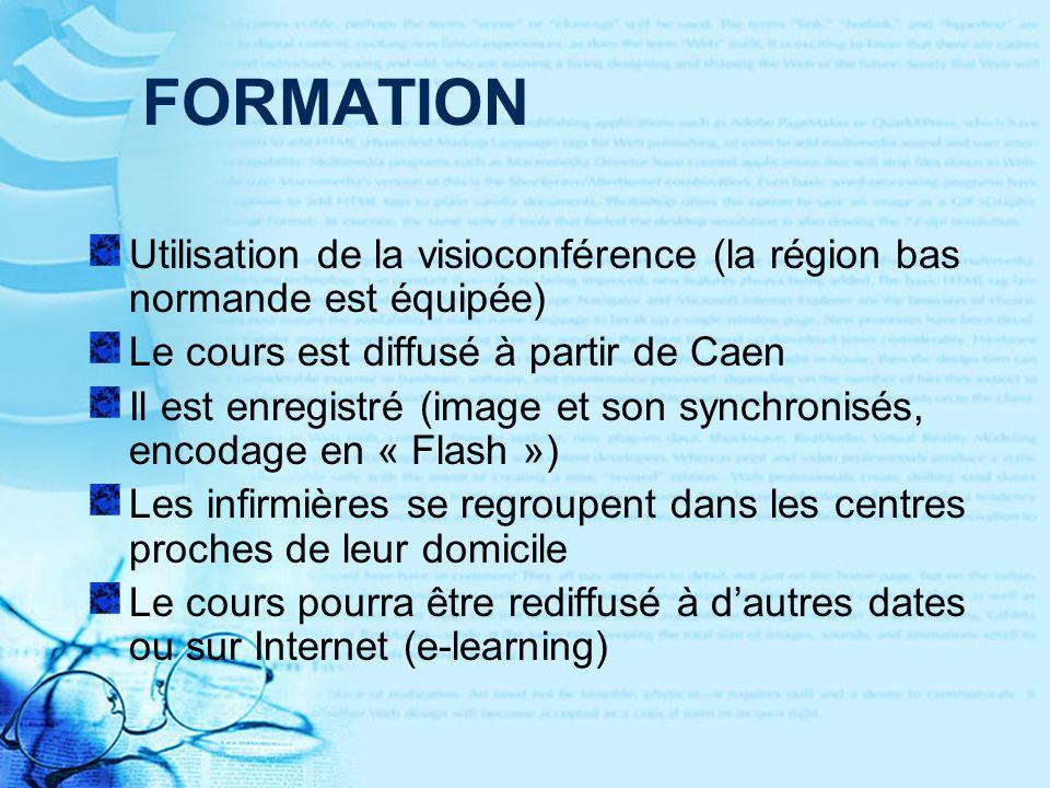 FORMATION Utilisation de la visioconférence (la région bas normande est équipée) Le cours est diffusé à partir de Caen.