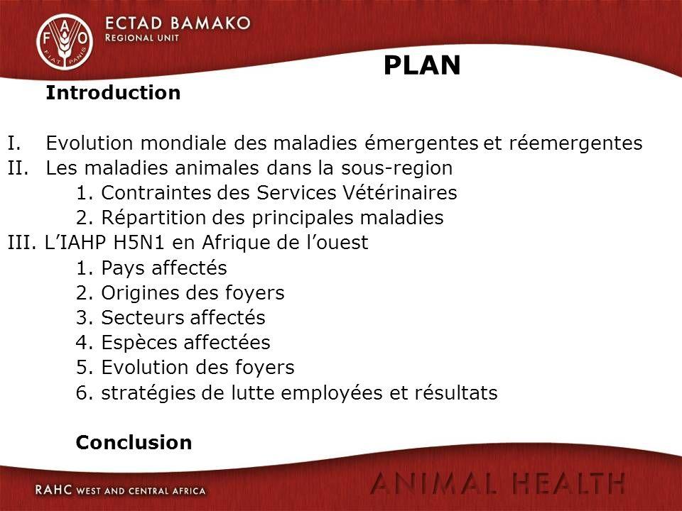 PLAN Introduction. Evolution mondiale des maladies émergentes et réemergentes. Les maladies animales dans la sous-region.