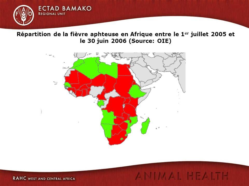 Répartition de la fièvre aphteuse en Afrique entre le 1er juillet 2005 et le 30 juin 2006 (Source: OIE)