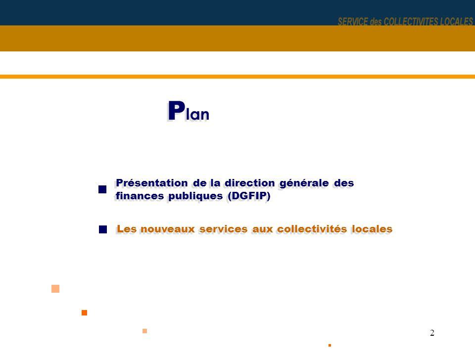Plan Présentation de la direction générale des finances publiques (DGFIP) Les nouveaux services aux collectivités locales.