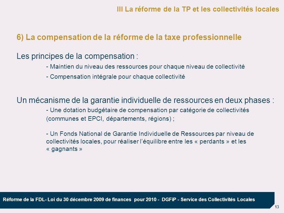 6) La compensation de la réforme de la taxe professionnelle