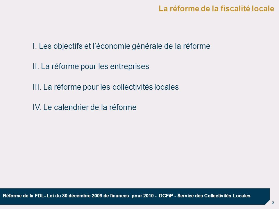 La réforme de la fiscalité locale