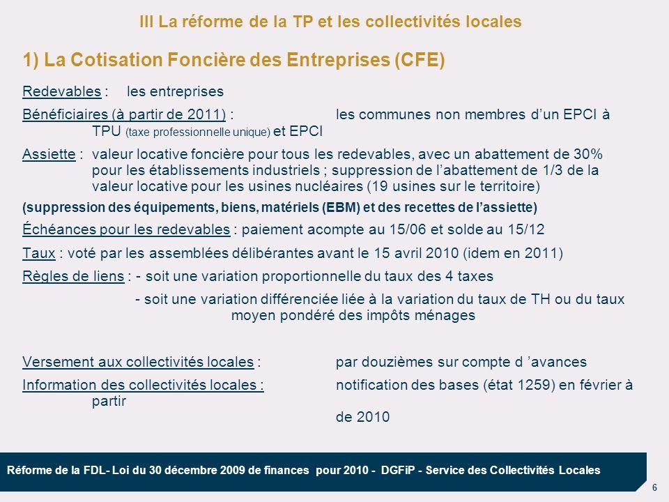 1) La Cotisation Foncière des Entreprises (CFE)