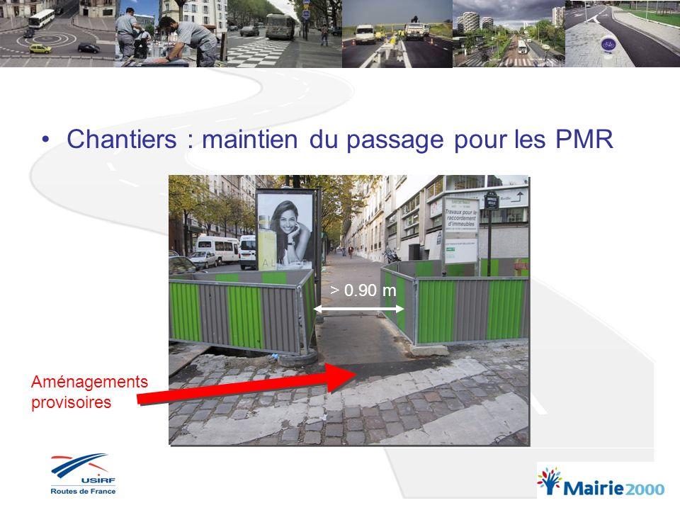 Chantiers : maintien du passage pour les PMR