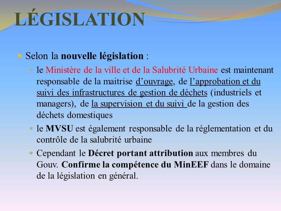 LÉGISLATION Selon la nouvelle législation :