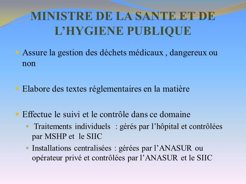 MINISTRE DE LA SANTE ET DE L'HYGIENE PUBLIQUE