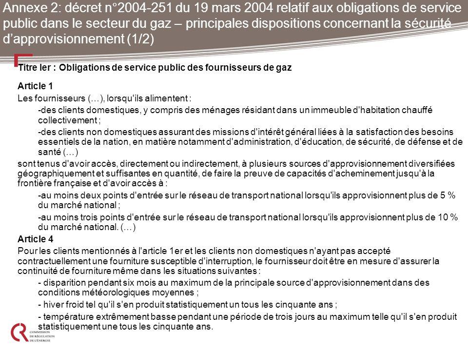 Annexe 2: décret n°2004-251 du 19 mars 2004 relatif aux obligations de service public dans le secteur du gaz – principales dispositions concernant la sécurité d'approvisionnement (1/2)