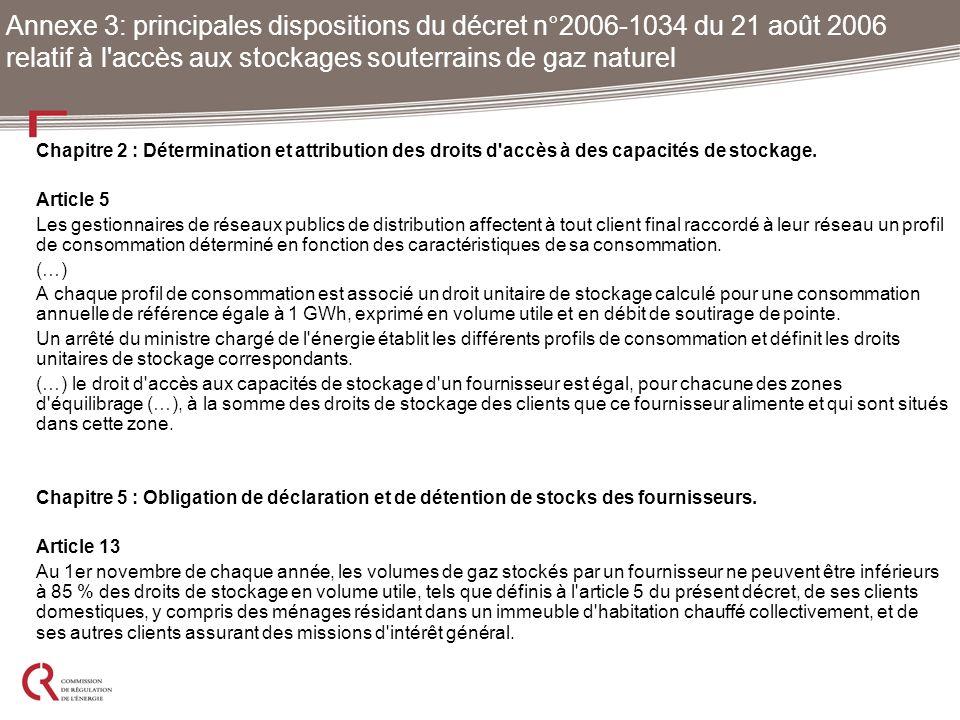 Annexe 3: principales dispositions du décret n°2006-1034 du 21 août 2006 relatif à l accès aux stockages souterrains de gaz naturel