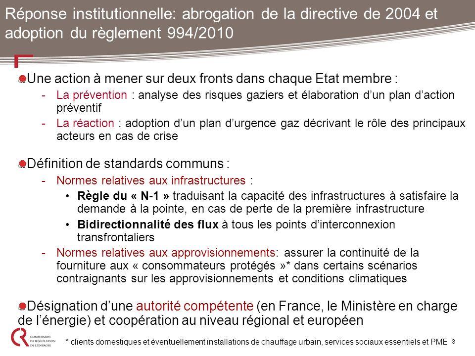 Réponse institutionnelle: abrogation de la directive de 2004 et adoption du règlement 994/2010