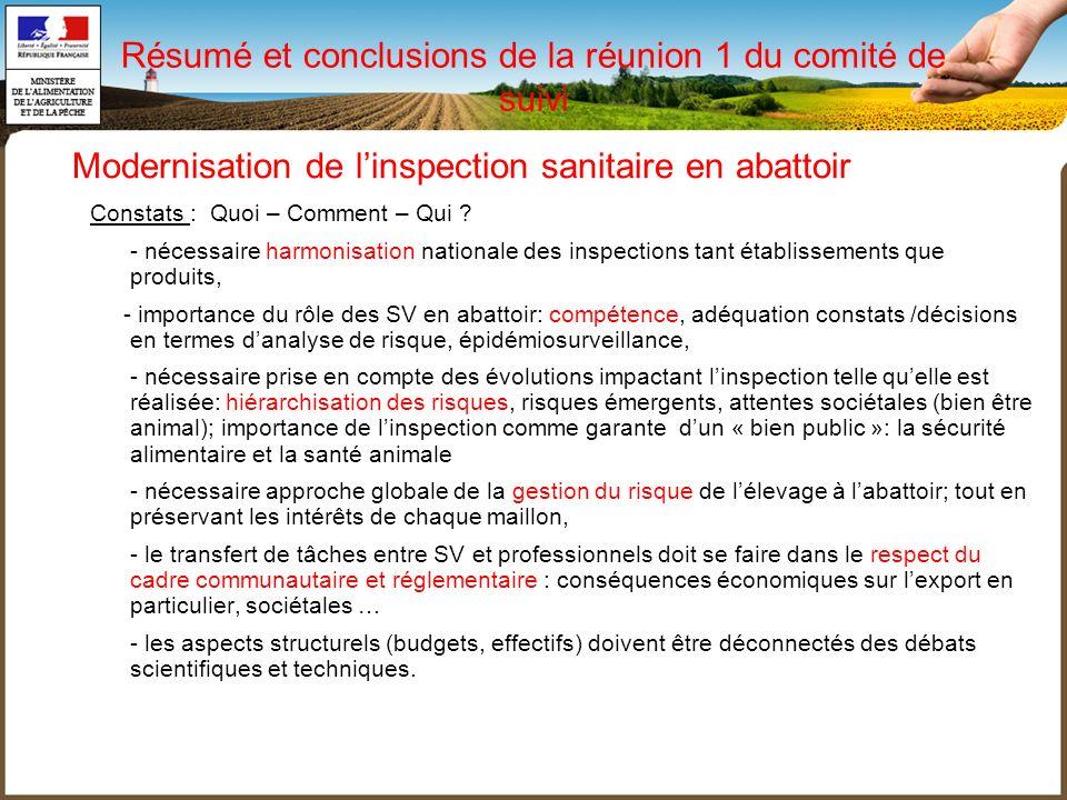 Résumé et conclusions de la réunion 1 du comité de suivi
