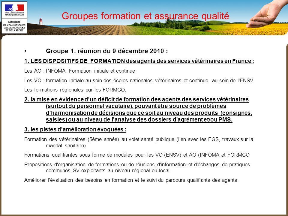Groupes formation et assurance qualité