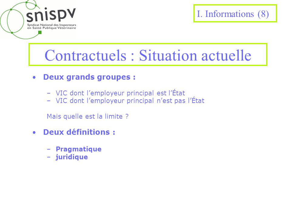 Contractuels : Situation actuelle